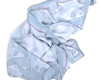 Silver gray hand painted square silk scarf.  Large silk bandana.   Head scarf gray silk.   Silver grey neckerchief.