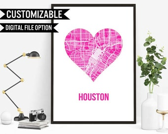 Houston Map Etsy - Printable map of houston