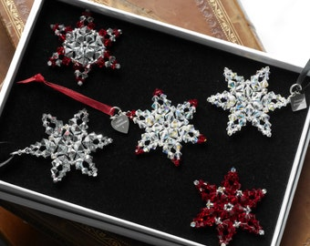 Sparkling  Hand  made Swarovski crystal Christmas Star Tree decoration OR set of 3 with optional PERSONALISATION