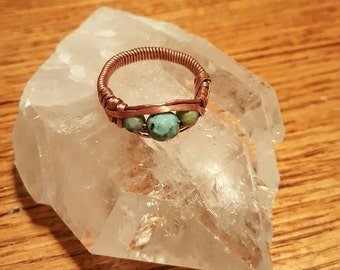 Hand Wrapped Copper and African Turquoise Boho Ring