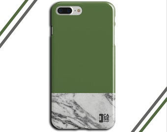 Green Kale x Grey Marble Two Toned Phone Case, iPhone X, iPhone 8 Plus, Protective iPhone Case, Galaxy s8, Samsung Galaxy Case, CASE ESCAPE