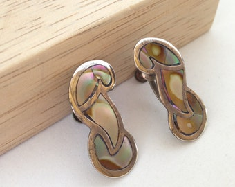 Vintage Sterling Silver Mexico Earrings Inlaid Abalone 1940's Taxco Screw Back