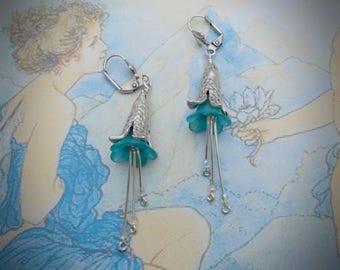 Bell flower earrings, bluebell earrings, light blue / teal lucite flowers, antique silver artisan caps, Czech glass beads, fairy, spring