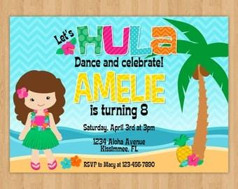 Luau Party Birthday Invitation