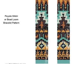 Bead Loom Bracelet Pattern - Tribal Bracelet Pattern 33 - Tribal33 Delica Bead Pattern - Peyote Stitch Bracelet Pattern