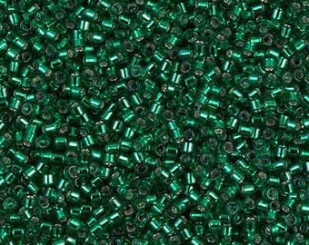 11/0 Silver Lined Emerald Miyuki Delica-605 DB605, Delica 605, 6 Grams