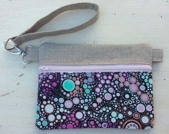 Wristlet purse with removable strap, makeup bag, cellphone wristlet, dog walker bag, multicolor phone and key purse, pink, green, black