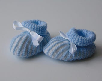 Baby booties in blue and white stripe