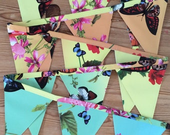 Garden Bunting, Outdoor Bunting, Rainbow Bunting, Butterfly Bunting, Birthday Gift, Garden Party, Oilcloth Bunting, Garden decoration