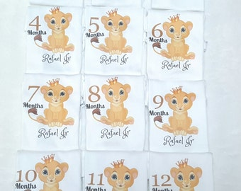 Month By Month Lion personalized onesies-Lion King theme-Baby Lion onesies-Lion King Baby-Month to month onesies