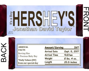 IT'S A BOY Birth Announcement Hershey's Printable Candy Bar Wrappers ~ Download ~ D.I.Y.