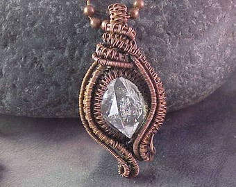 Wire Wrap Pendant with Herkimer Diamond /  Herkimer Diamond / Copper Wire Jewelry / Woven Wire Pendant / Handmade Jewelry