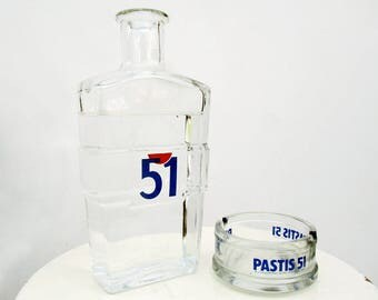 Vintage Pastis 51 Water Carafe And Ashtray, Pastis Set, Aperitif Set, French Barware, Anisette Carafe, Marseille Pastis, Ricard Pastis 51