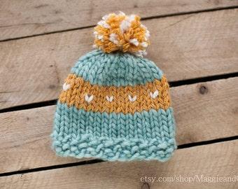 Tiny Hearts Fair Isle Pom Pom Newborn Hat, Newborn Fair Isle Hat, Newborn Pom Pom Hat, Knit Newborn Hat, Hearts Newborn Hat, Newborn Hat