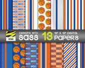 Digital Paper, New York, Knicks, Papercraft, Basketball, NBA, Scrapbook, Paper Craft, DIY, Party Supply, Deocr Jamberry, Commercial Use