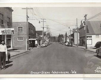 RPPC ~ Street Scene Washougal Washington Ellis Photograph 1940's