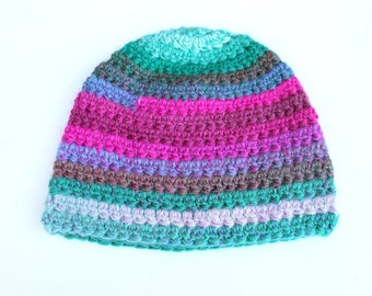 Mountains - Pink & Green, Adult Size Beanie