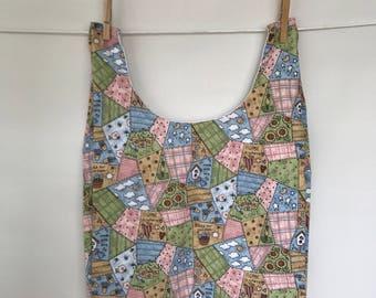 Market bag, fabric grocery bag, farmers market tote bag, reusable grocery bag