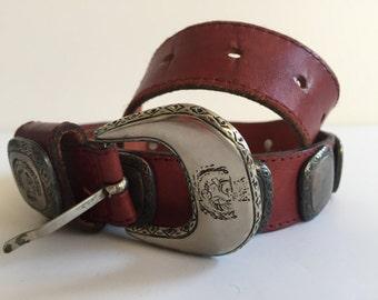 "RED LEATHER Belt Winged Crowned Horse Crest Medallions Length 34"" 1980s Vintage"