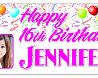 Personalized Birthday Banner with photo - Birthday Sign - Birthday Gift