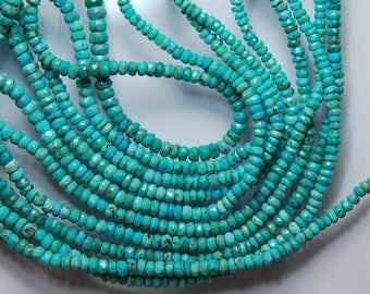 2 x 14'' Strand, Natural Arizona Sleeping Beauty Turquoise Rondelles, 3-3.5mm
