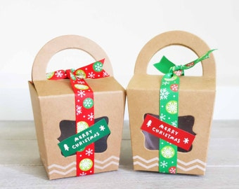 Christmas Treat Boxes Set (Set of 10) • Xmas Gift Boxes • Cupcake Boxes • Cookies • Slices • Macarons • Biscuits • Lollies