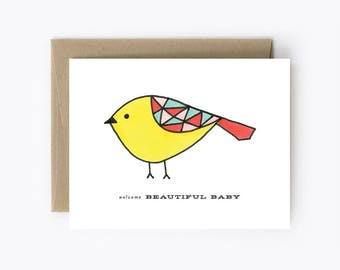 New Baby Card - Welcome Beautiful Baby - Baby Bird