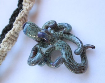 Octopus- Awesome Hand Blown Glass Octopus Pendant on Handmade Hemp Necklace in Your Choice of Color- OOAK Glass Octopus Pendant