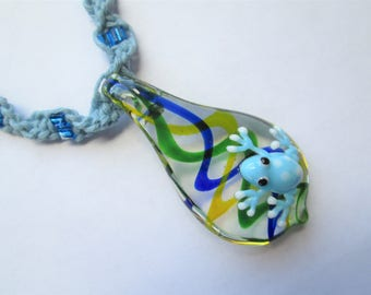 Frog - Handmade Blue Hemp Twist Necklace with Awesome Glass Drop with Frog Pendant and Glass Beads - Boho Chic Jewelry