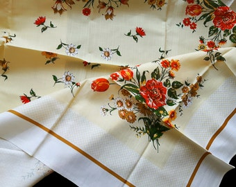 Vintage tablecloth with print flowers