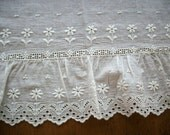 "Antique beautiful quality white work flounce trim in white 1 1/2 yd. length 25"" wide"