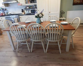 Gorgeous large solid Pine country Farmhouse table & 8 solid Beech chairs