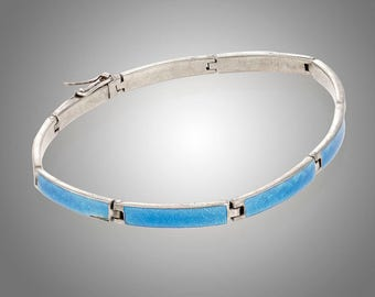 "blue guilloche enamel sterling line bracelet 7 1/4"" long"