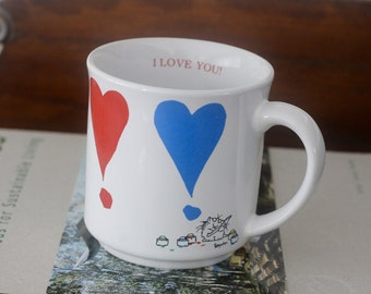 Vintage Sandra Boynton Heart Mug I Love You Cat Coffee Mug