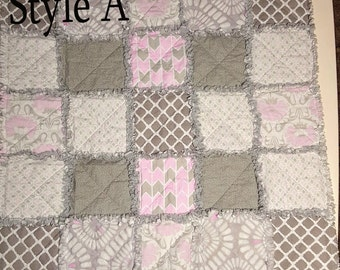 Darling Pink Gray and White Little Girl Rag Quilt for Baby