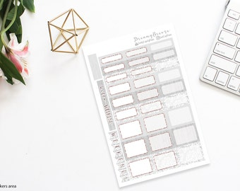 Lace/Burlap with Rose Gold | Half boxes & Labels | Printable Planner Stickers | Happy Planner
