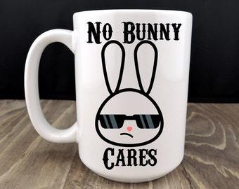 No Bunny Cares, Ceramic Coffee Mug, Funny Coffee Mug, Nobody Cares Mug, Morning Mugs,Grumpy Bunny,Work Mug,Funny Coffee Cup,Bunny Rabbit Mug