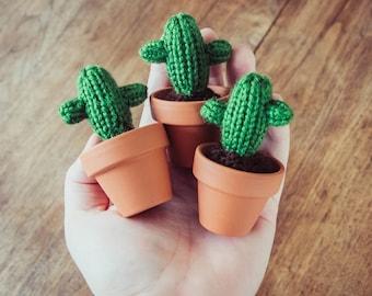 """Mini 3.5"""" Knitted Cactus - Miniature Cactus, Knit Cactus, Crochet Cactus, Amigurumi, cactus toy, plush cactus, stuffed cactus, cactus art"""