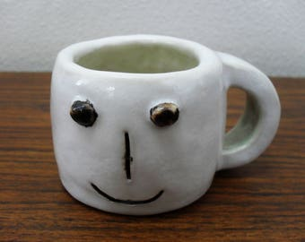 Vintage Stoneware 3D Face Tea Cup Coffee Mug Planter Signed