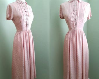 RESERVED Late 1930's Pink Silk Floral Day Dress