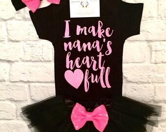 Baby Girl Clothes, Nana Shirts, I Make Nana's heart full Bodysuit, Nana Bodysuit, Grandparent Shirt, Baby Shower Gifts