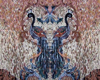 Two Peafowls Mosaic Marble