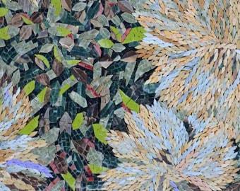 Floral Bushes Marble Mosaic Decorative Murals