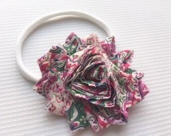 Vintage shabby flower headband // Nylon headband // Baby headband // Baby // Elastic headband // Lace headband
