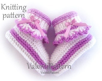 BABY Booties Knitting Pattern, Pattern for Girls, Booties for Babies, Knit,Knitted, Pattern, PDF