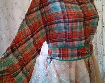 Lovely dress cotton orange green plaid with tulles/festival dress/bridesmaid dress/OOAK
