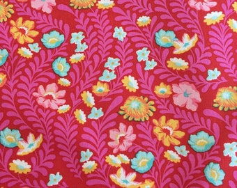Wildflower by Tula Pink from the Eden Collection in Tomato for Free Spirit Fabrics