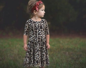 Girls Leopard Print Dress Sizes 2/3, 4/5, 6/6X, 7/8, 10/12, 14 Ready to Ship