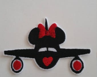 Airplane Minnie Disney iron on or sew on patch Airplane patch Plane iron on patch Disney patch Disney applique Airplane applique