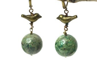 Brass Bird Earrings / Green Planet Earrings / Blue Planet Bead Earrings / Stone Dangle Earrings / Ball Dangle Earrings
